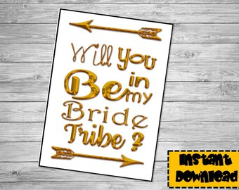 Bridesmaid Invitation - Gold Printable Invitation- will you be my Bridesmaid -Team Bride- I do -Bridesmaid Proposal -Bride Tribe