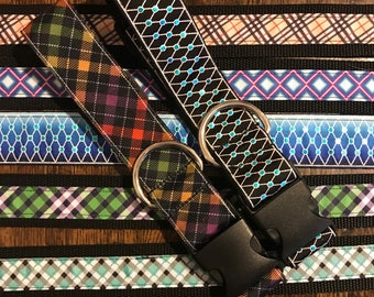 "1.5"" adjustable geometric pattern dog collars"