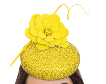 Yellow & Gold Fascinator, Yellow Hat, Yellow Millinery, Custom Hat, Derby Hat, Wedding Hat, Hat for Races, Spring Racing Hat - LAURA