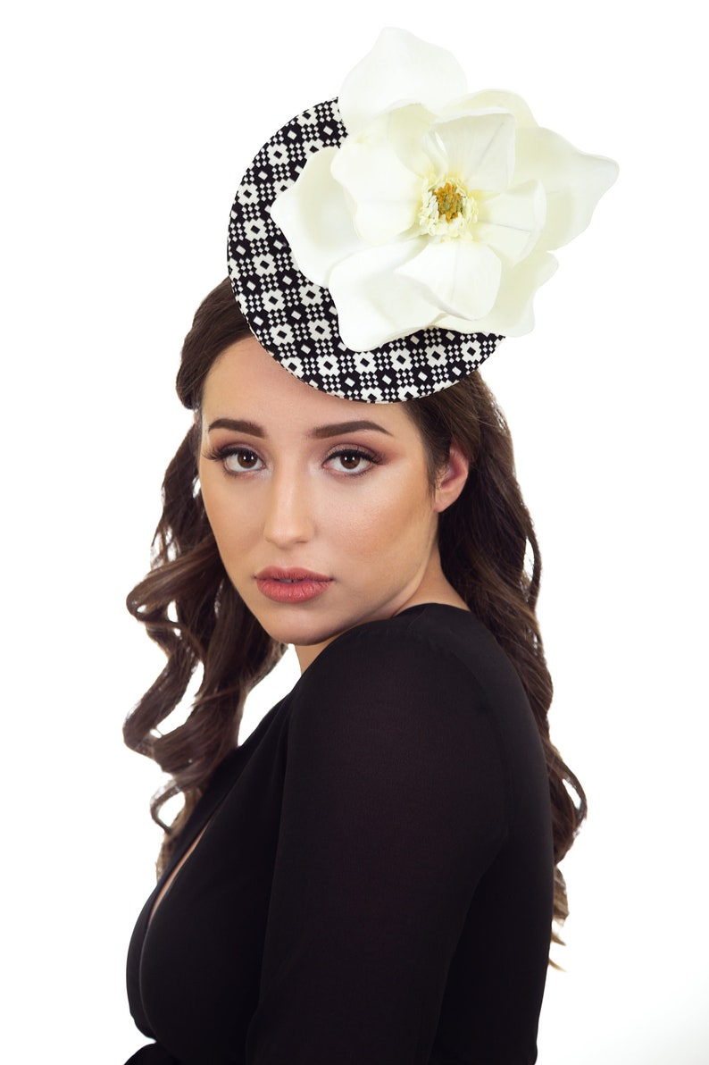 Black   White Hat Black and White Fascinator Black and White  9d6be63dc8b