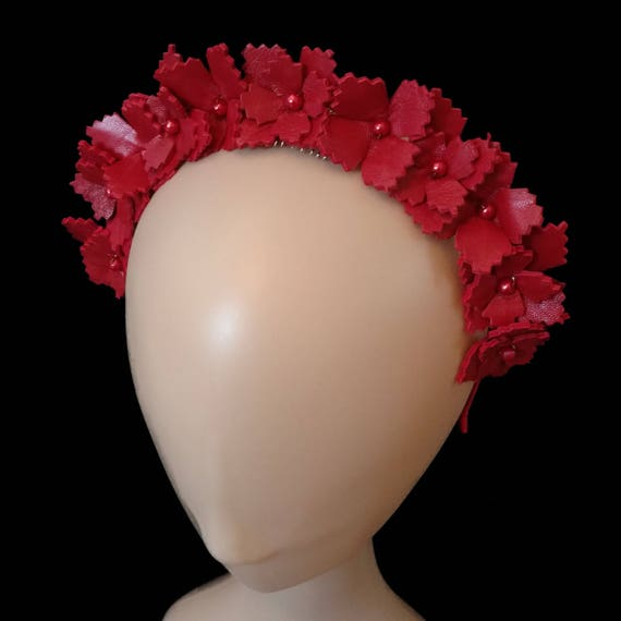 Red Crown Fascinator Ladies Hat Millinery Custom Hat  0285ef5481b