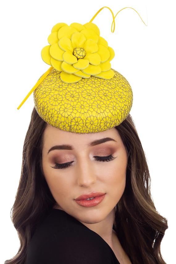 Yellow   Gold Fascinator Yellow Hat Yellow Millinery Custom  d0340aeaa5a