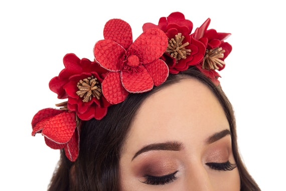 Red Fascinator Red Crown Red and Rose Gold Fascinator  78cbe50baf8