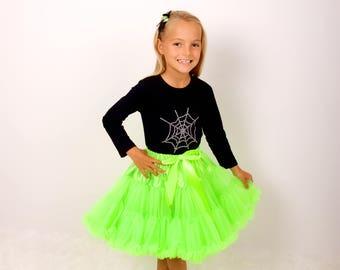 Girls Neon Green Pettiskirt/Halloween Fancy Dress/Fluffy Tutu/Outfit for Girl/Birthday Gift/Princess Tutu/Witch Tutu/Petticoat Tutu/Festival