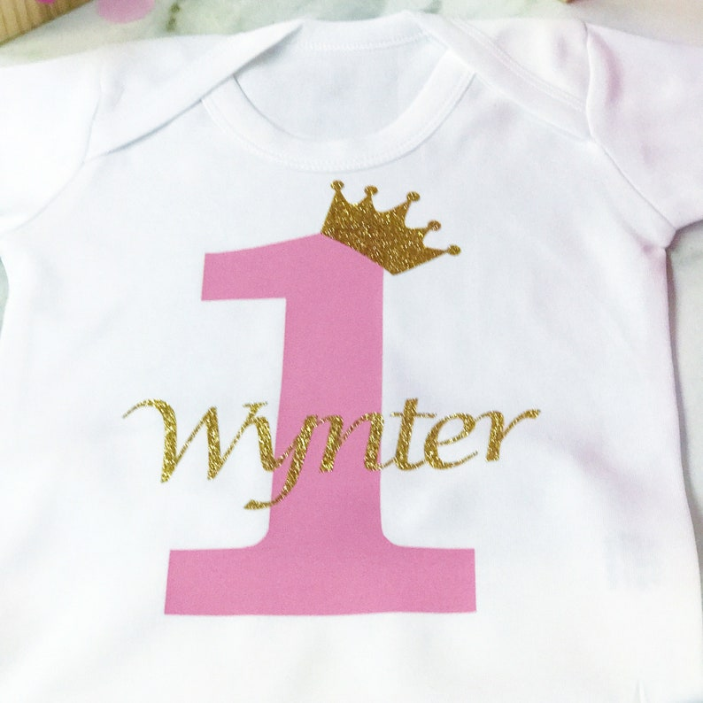 Cute Personalised Baby Bib First BirthdayGold and Silver SparkleBirthday Outfit Baby GiftGift For Baby Girl or Boy