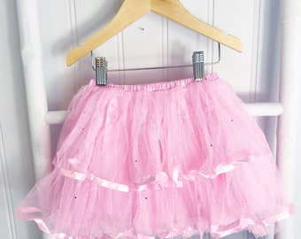 Pink Ra Ra Sparkle Tutu with Heaband,Party Tutu, Younger Girl, Bright Sparkly, Glitter, Party Tutu, Gift for Her