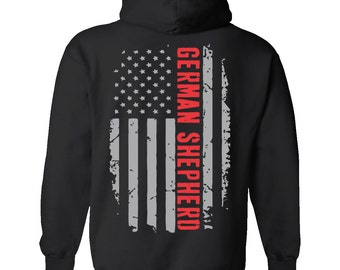 German Shepherd Hoodie, American Flag German Shepherd Shirt, German Shepherd Hooded Sweatshirt, GSD Shirt, Gift For Her, Dog Lover Gift