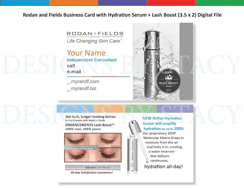 Rodan and Fields Business Card with Hydration Serum + Lash Boost (3 5 x 2)  High Resolution Digital Format