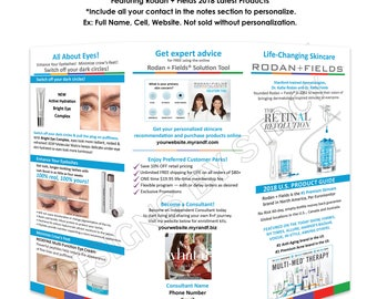 """Rodan and Fields 2018 U.S. Brochure. Personalized 8.5x11"""" digital or printed design. Best Seller! Include your contact at checkout.."""