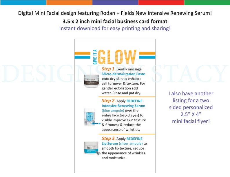 Digital Mini Facial design featuring Rodan + Fields New Intensive Renewing  Serum! 3 5 x 2 inch