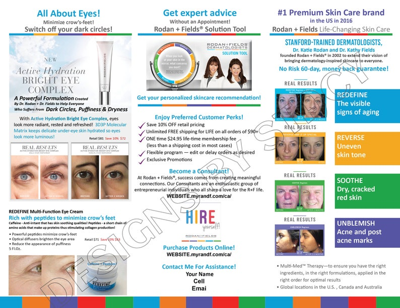 Rodan and Fields personalized digital marketing bundle_CANADA_1 trifold  Brochure, 1 Postcard, & 1 Free Business Card Design
