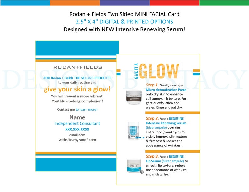 Rodan + Fields Two Sided MINI FACIAL business card/flyer! 2 5