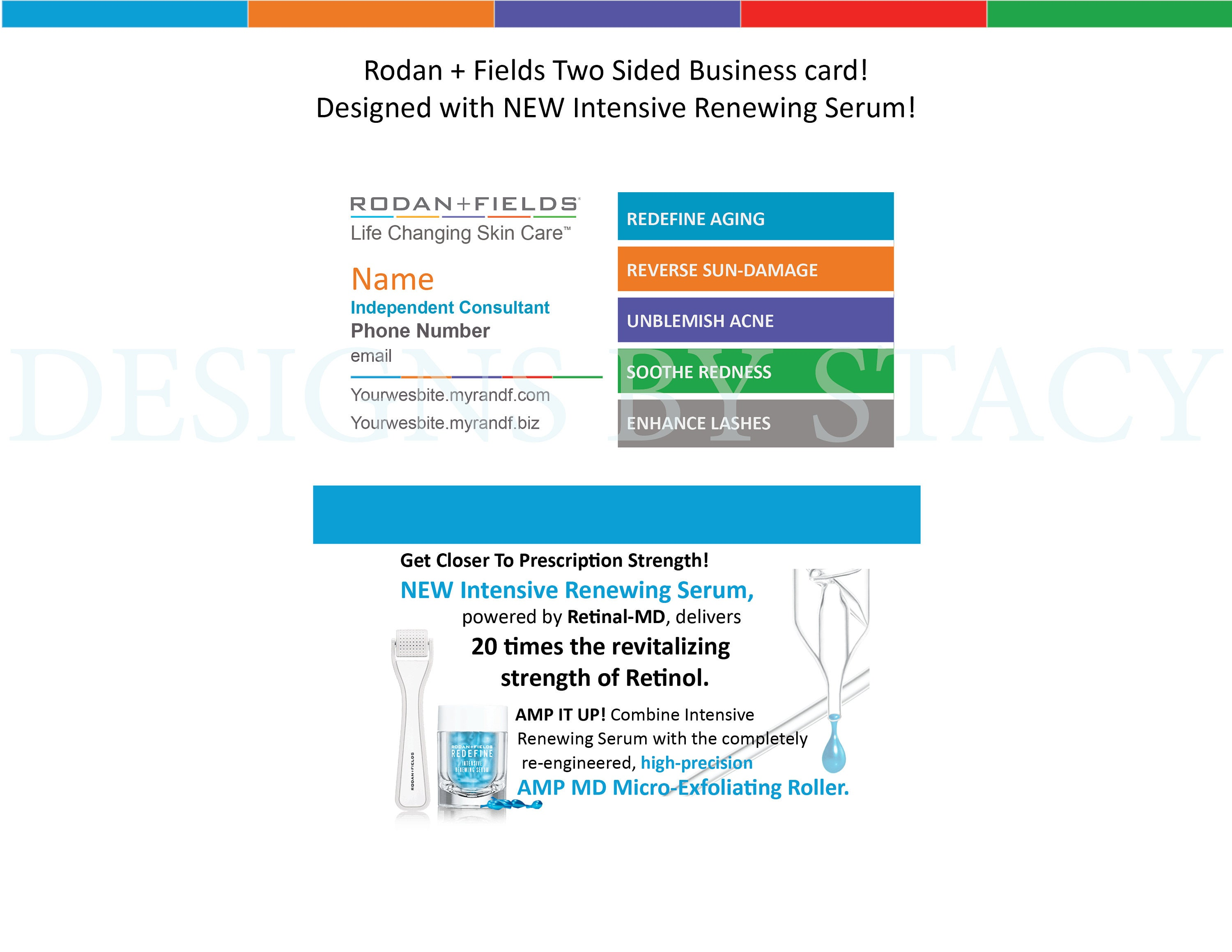 Rodan and Fields Business Card Design with NEW 2017 Intensive Renewing  Serum! Digital + Printed option