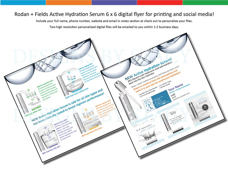 Rodan + Fields Active Hydration Serum 6 x 6 digital flyer for printing and  social media!