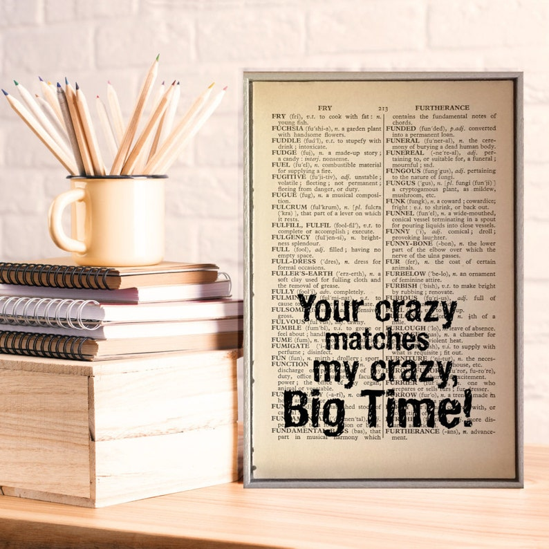 What Page Is This Quote On | Deadpool Crazy Quote On Vintage Dictionary Book Page Print Etsy