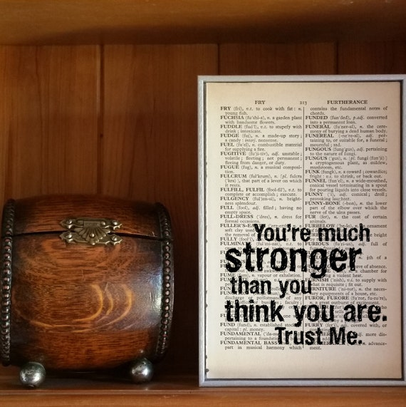 Motivational Quote Youre Stronger Than You Think Etsy
