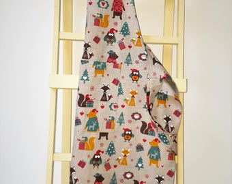 Handmade Decorative  Christmas in the Woods Linen Cotton Apron. Great Addition to a Christmas Kitchen. Perfect X-mas Gift. Size S to XXL.