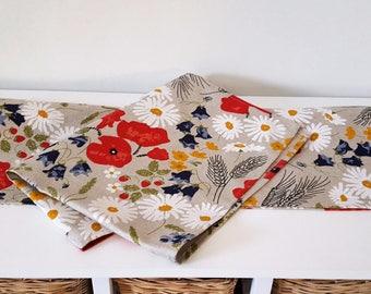Handmade Wild Meadow Flowers Tea Towel Kitchen Towel Dish Towel