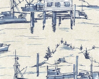 Michael Miller Indigo Cove The Cove Parchment Sold by Yard. Nautical Seaside Print in Indigo.