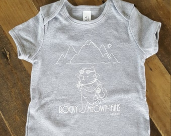 Baby onesie - baby gift - cat baby onesie - Rocky Mountains - funny baby onesie - baby clothes - baby shower gift
