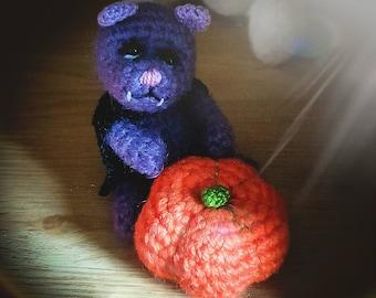 Twilight the Vampire Bat Teddy by Dandelion Bears - collectable teddy artist Traceyann Papworth, Halloween ornament