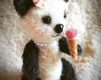 Little Miss Panda Bear handmade ooak mohair artist teddy bear doll