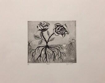 Roses intaglio print