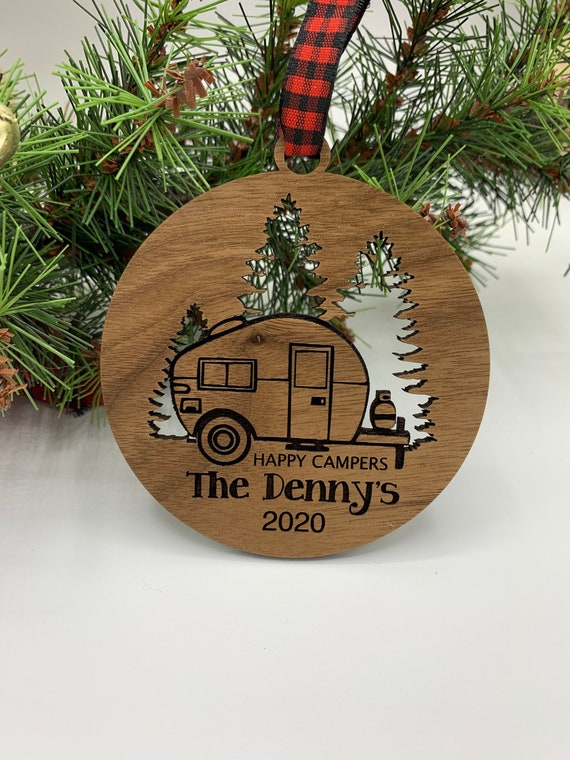 Happy Camper Ornament. Personalized Camping Ornament. Gift for