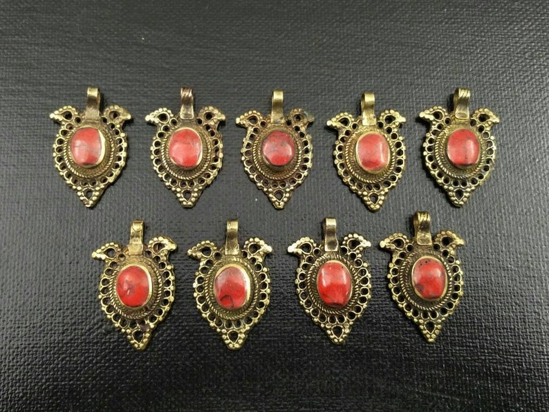 9 Waziri Pendants DIY Costume Designing Boho Belly Dancing Jewelry Supply Charms Banjara Kuchi Gypsy Tribal Pendant Findings Dress Designing