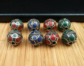 8 Vintage Colored Round Beads DIY Costume Designing Jewelry Supply Old Vintage Beads For Making Kuchi Tribal Necklaces Bracelets Earrings.
