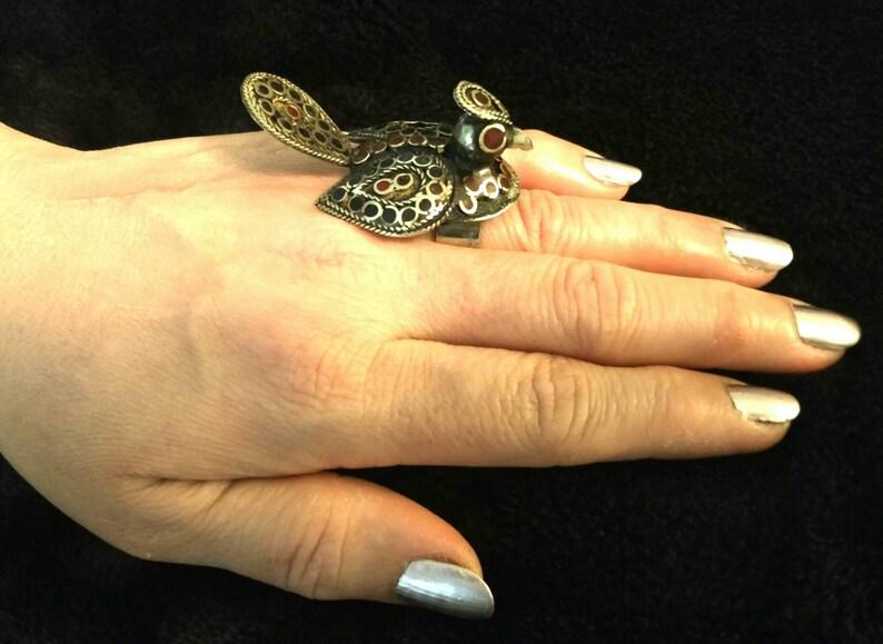 Vintage Handmade Bird Ring  Women Afghan Kuchi Jewelry Banjara Tribal Jewelry Boho Gypsy Indian Ring Ethnic Ring Gift for her Belly Dancing.