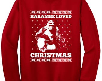 revel shore harambe loved christmas sweatshirt