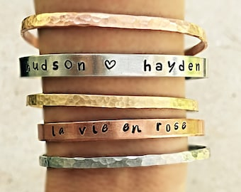 Hand stamped bangle stacked set, Personalized Jewelry, Hand stamped, Customized Bangles, Metal Jewelry