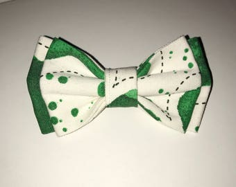 Handmade slip on Dog Bow Tie in Green Abstract pattern