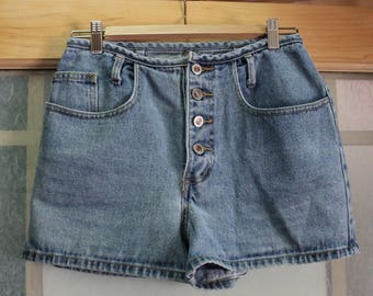 80s/90s Baxis / 7 / 27 / Button Fly / High-Rise Denim Shorts