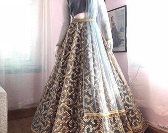 dc2edd285f014 Indian designer crop top skirt lehenga choli with embroidery work and duppta