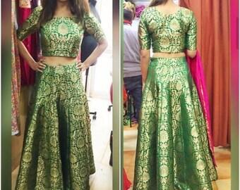 b988f0b8f0c33 Indian designer pure Banarasee banarasi brocade anarkali crop top skirt  lehenga choli for women saree blouse anarkali ethnci wedding wear