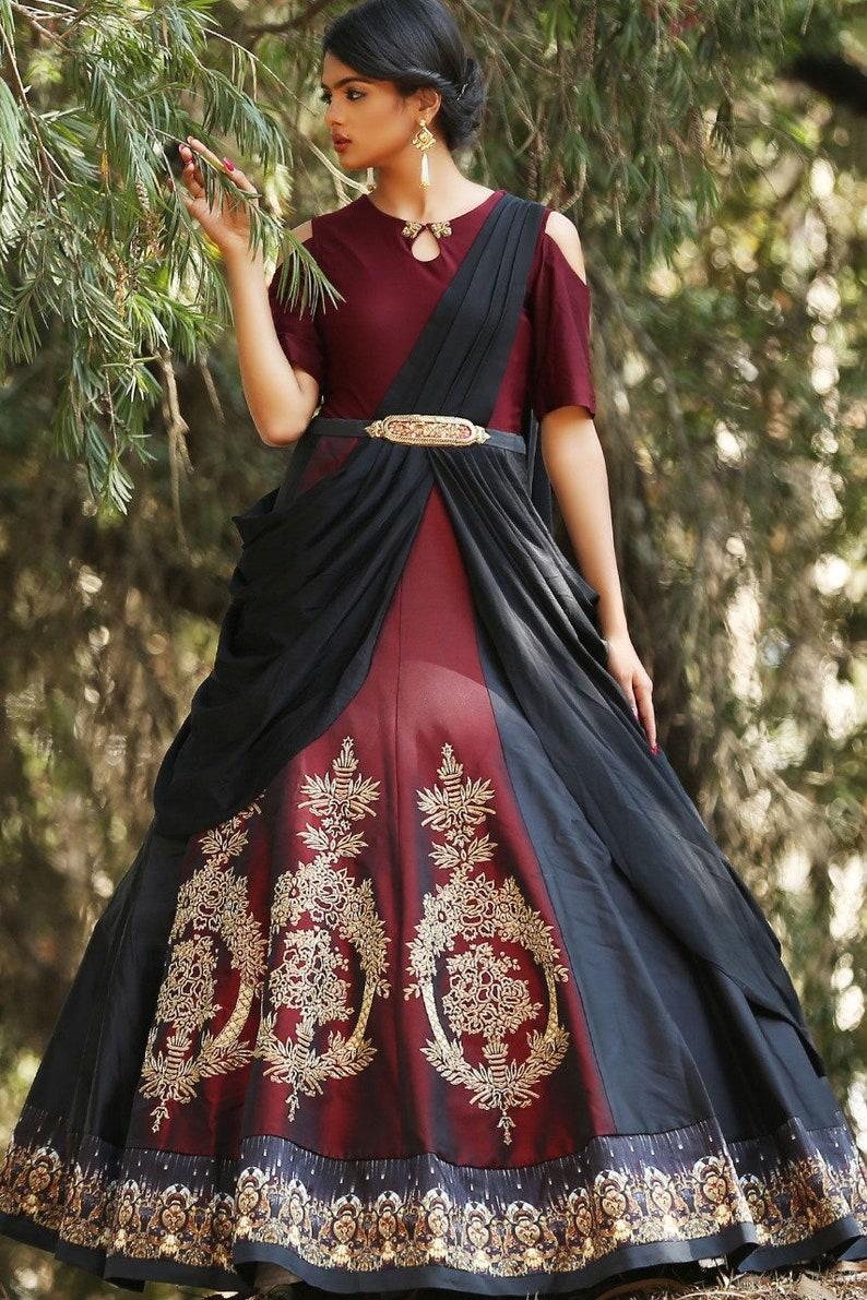 bdcc9b632b Indian pakistani designer gown saree style lehenga choli crop | Etsy
