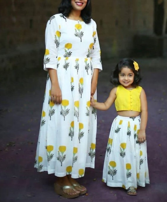 Indian Block Print Mother Daughter Matching Dress Etsy