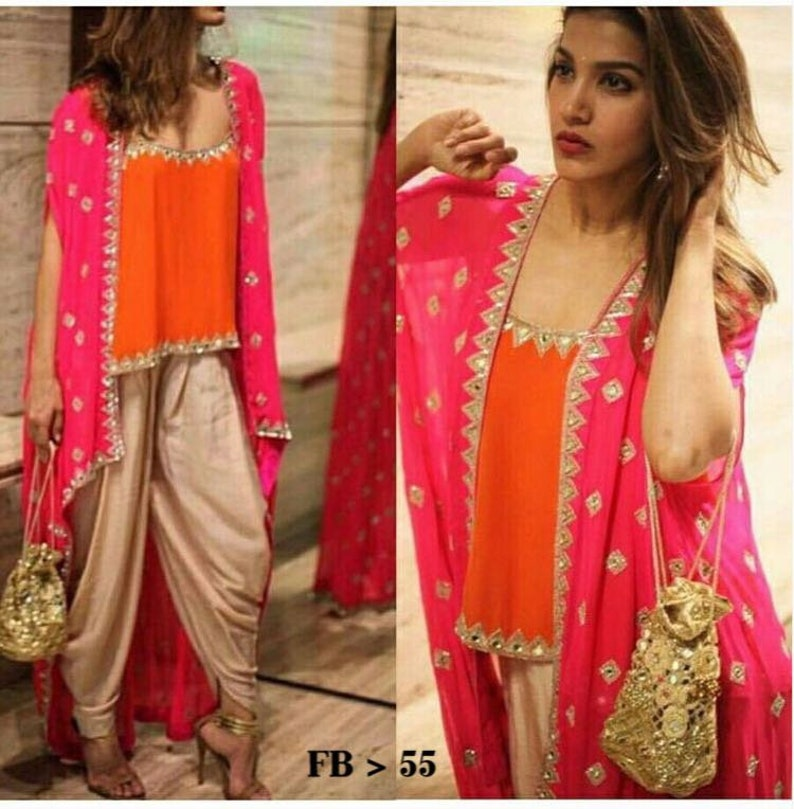e4f9226c28785 Indian designer crop top patiala salwar with shrug jacket