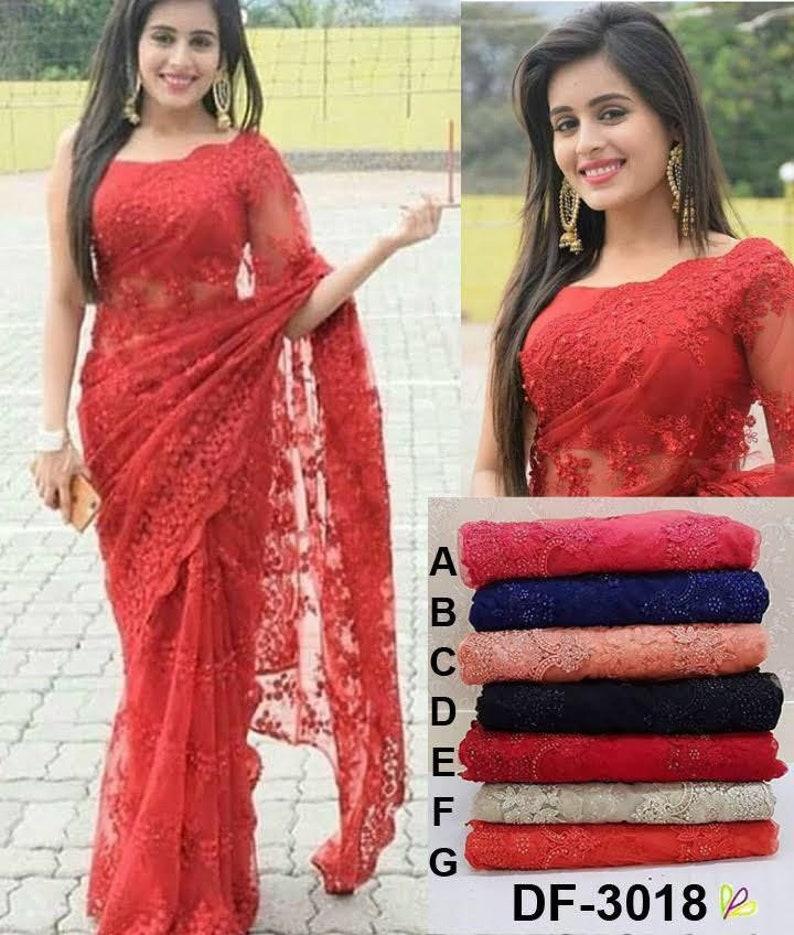 5db8cf2376 Indian designer heavy saree blouse pure mono net crop top | Etsy