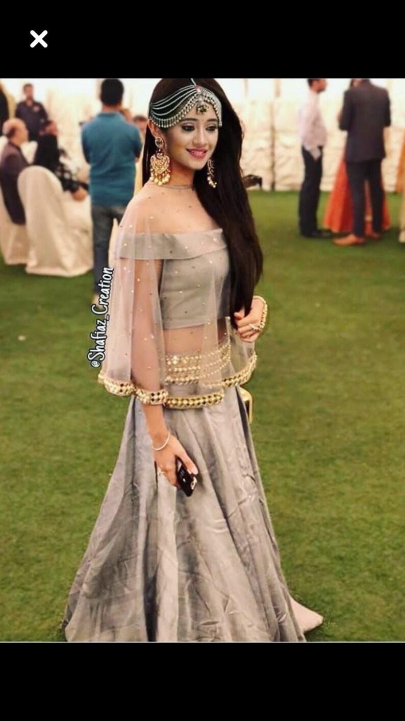 18e7b49522d7 Indian pakistani designer heavy lehenga choli crop top skirt