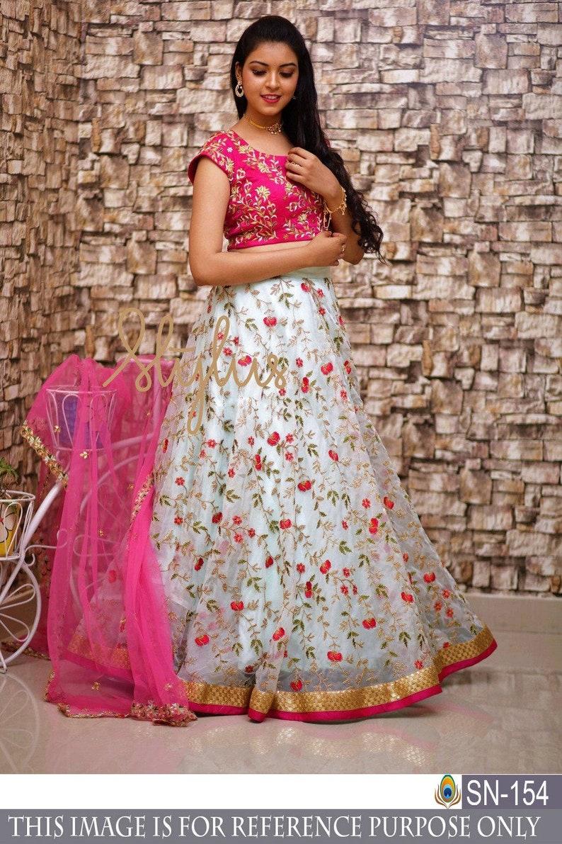 116c9acd51ba Indian pakistani designer crop top skirt lehenga choli saree