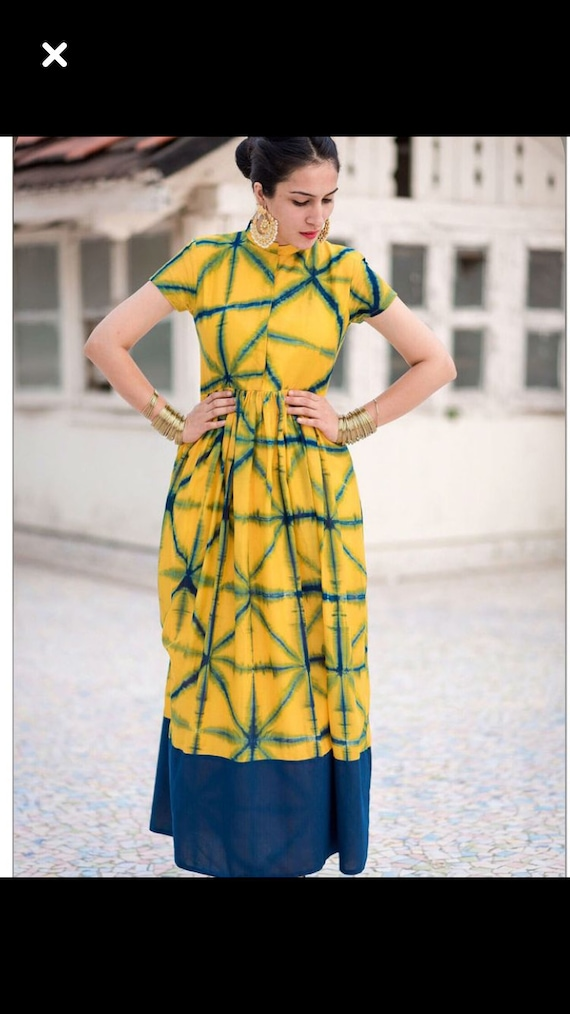 Indian Cotton Tie Dye Maxi Dress Etsy