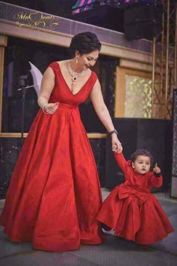 Indian Mother Daughter Matching Dress Outfit