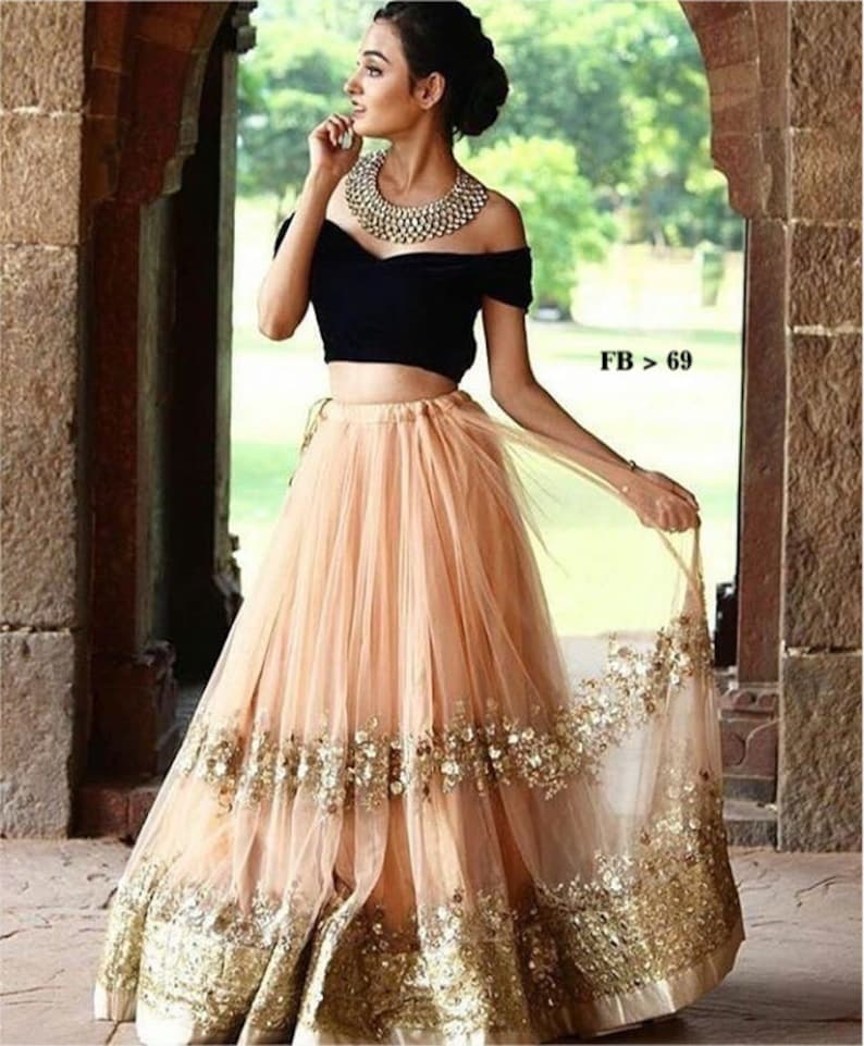 a33a761a0e6 Indian pakistani designer lehenga choli crop top skirt with