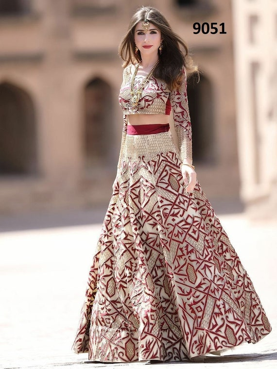 c617eb596df019 Indian designer western crop top and skirt with duppta