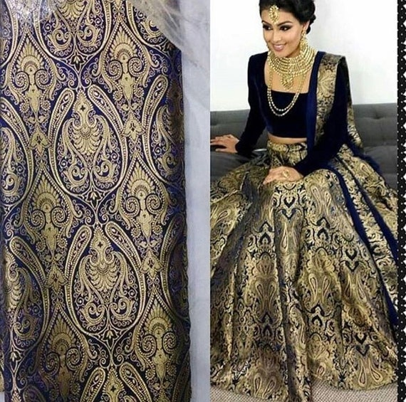38c13997860267 Indian designer banarasee brocade crop top and skirt lehenga