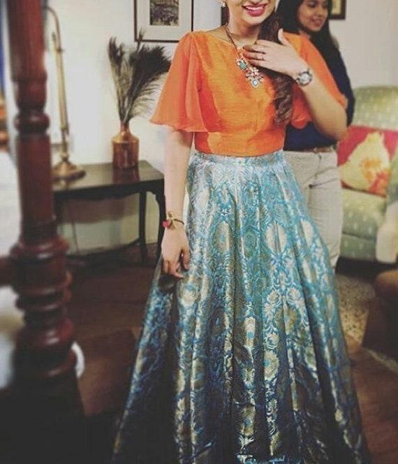 6497bdf016b1b0 Indian designer pure banarasee brocade crop top skirt lehenga