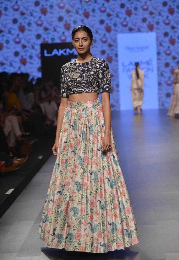 Indian Designer Embroidery Lehenga Choli Crop Top Skirt Etsy